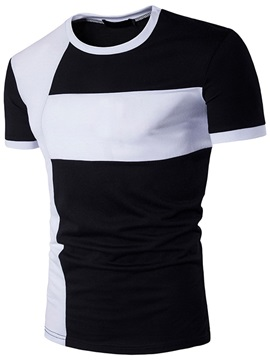 Straight Round Neck Leisure Men's Tee