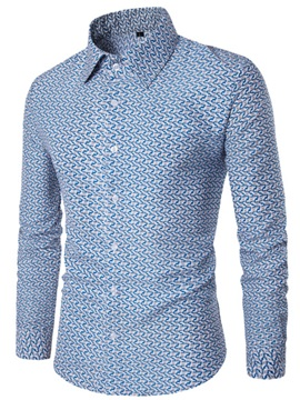 Wave Print Slim Men's Leisure Shirt