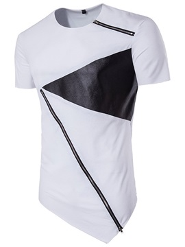 Oblique Zipper Patch Round Neck Men's T-shirt