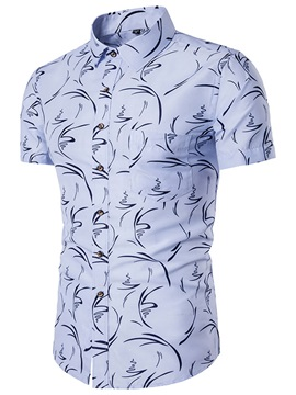 Floral Print Slim Short Sleeve Men's Shirt