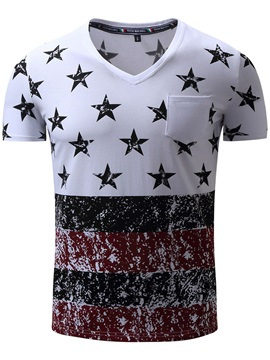 Star Printed Patchwork Chest Pocket Men's T-Shirt