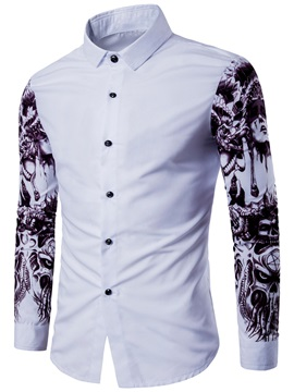 Color Block Lapel Single-Breasted Men's Shirt