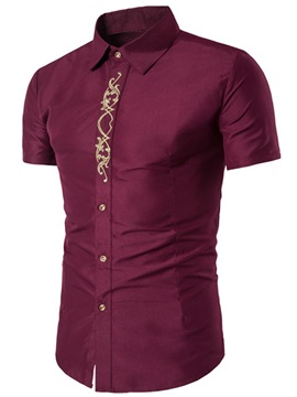 Plain Slim Fit Embroidery Printed Men's Shirt