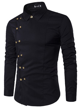 Double-Breasted Lapel Vogue Plain Men's Shirt