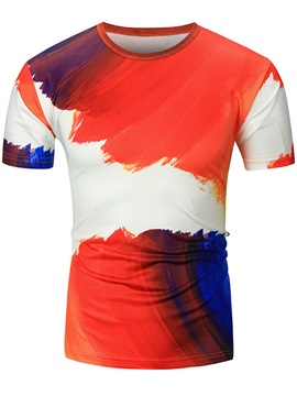 Print Color Block Round Neck Short Men's T-Shirt