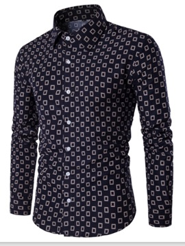 Plaid Printed Long Leisure Men's Shirt