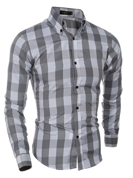 Plaid Leisure Slim  Men's Shirt