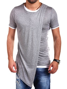 Slim Irregular Plain Round Neck Men's T-Shirt