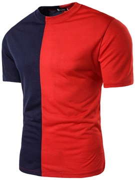 Color Block Patchwork Short Men's T-Shirt