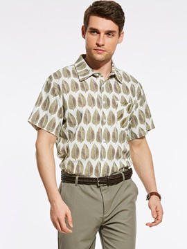 Tidebuy Leaf Print Lapel Men's Loose Short Sleeve Shirt