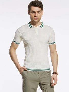 Stripe Loose Lapel Short Men's T-Shirt