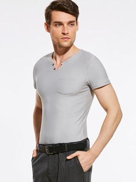 Slim Fit Solid Color Short Men's T-Shirt