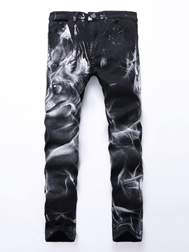 Animal Printed Straight Color Block Men's Jeans