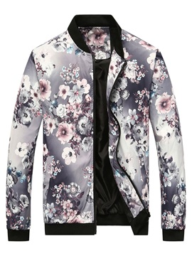 Stand Collar Floral Printed Men's Jacket