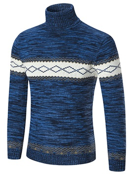 Turtleneck Color Block Slim Men's Sweater