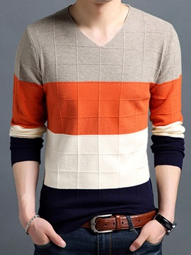 V-Neck Color Block Patchwork Slim Men's Sweater