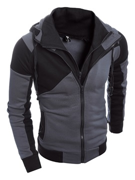 Fashion-Double-Zipper-Hooded-Slim-Men's-Sweater