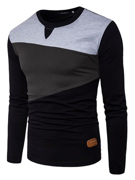 Mosaic Color Round Neck Slim Long Sleeve Men's Tee