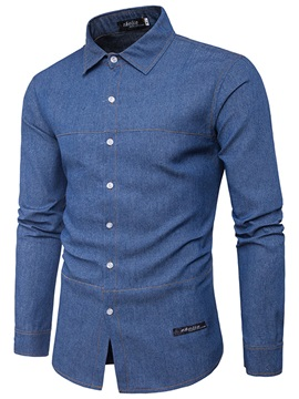 Lapel Solid Color Loose Men's Casual Shirt