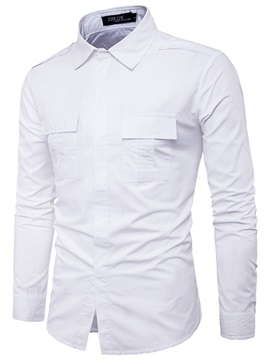 Lapel Plain Loose Men's Dress Shirt