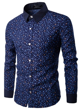 Lapel Nylon Printed Men's Casual Shirt