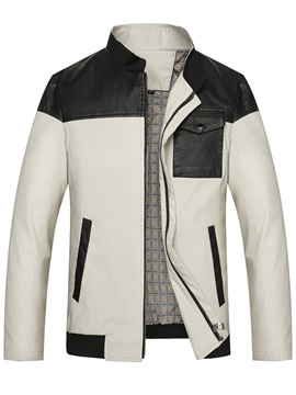Stand Collar Color Block Pocket  Men's Jacket