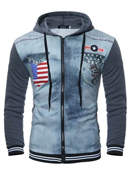 Hooded Patchwork Zipper Men's Denim Hoodie