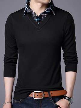 Solid Color Long Sleeve Turndown Collar Men's Sweaters