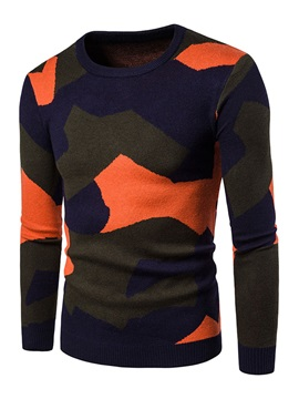 Camouflage Leisure Loose Round Neck Men's Sweaters