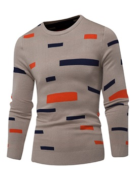Stripe Pattern Mosaic Color Round Neck Men's Sweaters