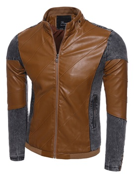 Stand Collar Zipper Mosaic Leather Men's Jackets