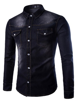 Single-Breasted Slim Lapel Long Sleeve Men's Shirts