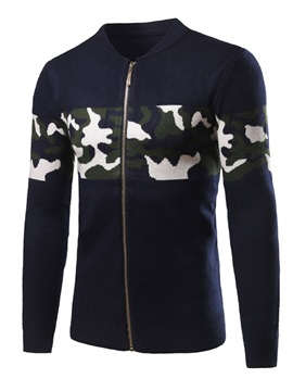 Zipper Camouflage Stand Collar Men's Sweaters
