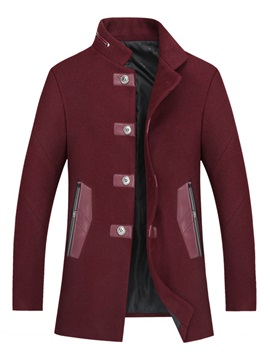 Solid Color Slim Stand Collar Pockets Men's Coats