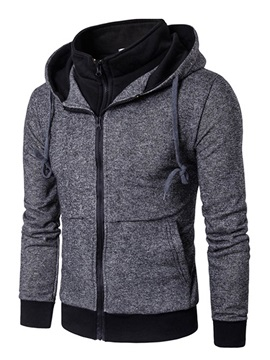 Fake Two Pieces Stand Collar Solid Color Men's Hoodies