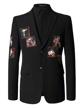 Solid Color Two Button Lapel Floral Printing Men's Blazers