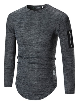 Medium Length Round Neck Solid Color Slim Men's Hoodie