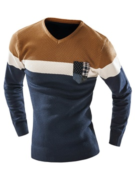 Mosaic Color V-Neck Slim Long Sleeve Warm Men's Sweater