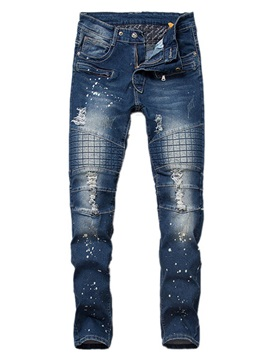 Holes Pencil Elastic Straight Fit Denim Men's Jean