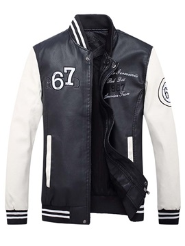 Mosaic Color Stand Collar Zipper Leather Men's Jacket
