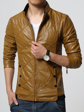 Solid Color Stand Collar Zipper Slim Leathere Men's Jacket