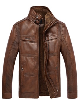 Slim Solid Color Stand Collar Zipper Leather Men's Jacket