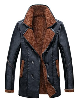 Lapel Baggy Double Breasted Leather Warm Men's Down