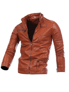 Stand Collar Solid Color Slim Leather Men's Coat