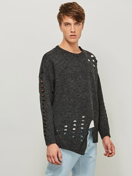 Round Neck Solid Color Hole Pullover Men's Sweater