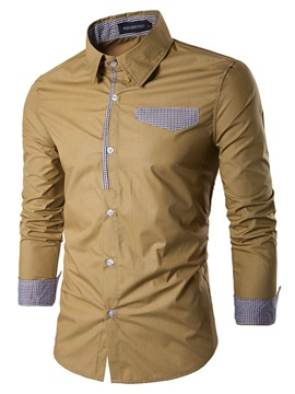 Solid Color Lapel Long Sleeve Single-Breasted Slim Men's Casual Shirt