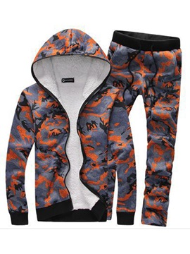 Hooded Camouflage Pattern Zipper Slim Warm Men's Outfits