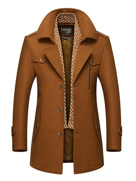 Твердый цвет средней длины Lapel Warm Slim Men's Coat