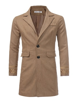 Medium Length Two Button V-Neck Lapel Slim Men's Coat