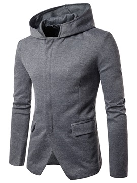Stand Collar Solid Color Long Sleeve Slim Men's Hoodie